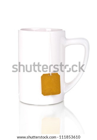 White cup with teabag Isolated on white background