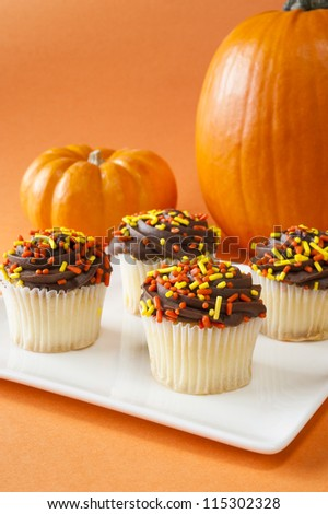 White cupcakes with chocolate icing and sprinkles with pumpkins - stock photo