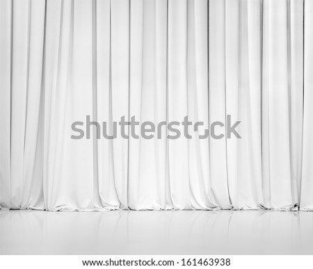 white curtain or drapes background - stock photo