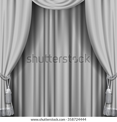 White curtain. Square theater background. Artistic poster - stock photo