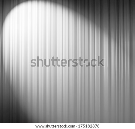 White curtain with spotlight - stock photo