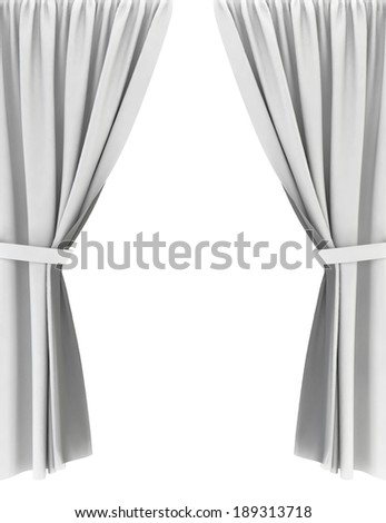 White curtains. 3d image isolated on white background