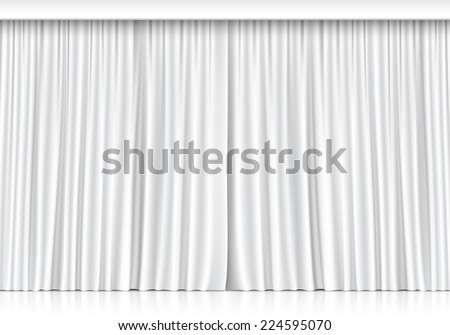 White Curtains Isolated on White Background - stock photo
