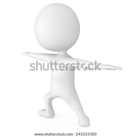 White cute man doing yoga exercise. 3d render isolated. Physical activity concept.