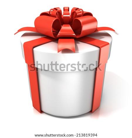 White cylinder gift box isolated on white background - stock photo
