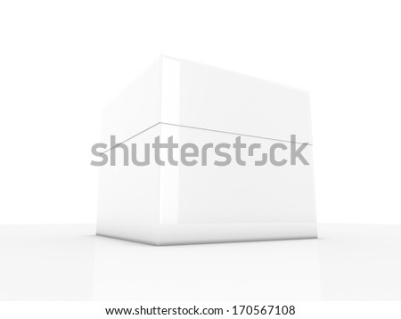white 3d box isolated over white - stock photo