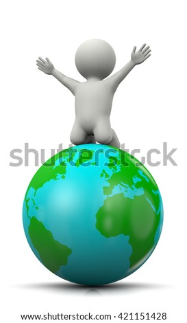 White 3D Character Exulting on top of the World 3D Illustration on White Background