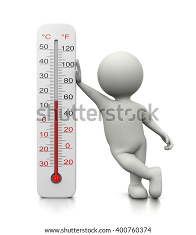 White 3D Character Leaned on a Thermometer 3D Illustration