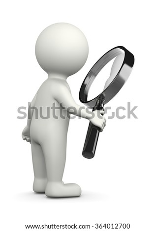 White 3D Character with Magnifier Illustration on White Background, Searching for Concept - stock photo