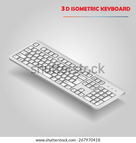 White 3d computer keyboard