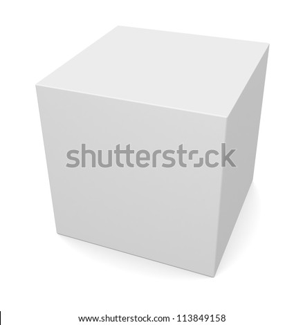 white 3d cube isolated on white - stock photo