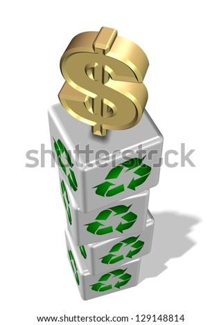 White 3d cubes with recycling symbol on them and golden dollar symbol on the top / Recycling make money - stock photo