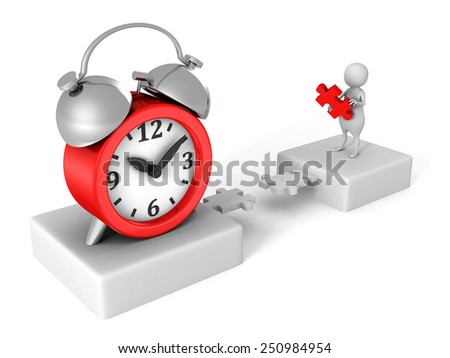 white 3D human jigsaw puzzle bridge to red alarm clock. time works concept - stock photo
