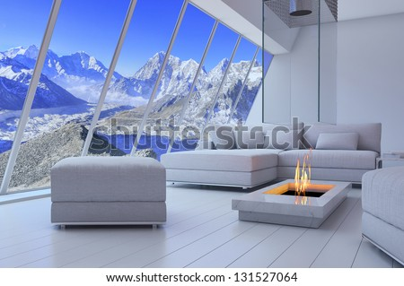 White 3D interior room with fireplace and mountain range view - stock photo
