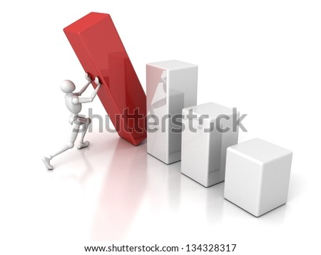 white 3d man and rising bar graph