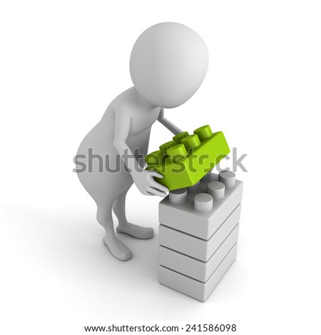 white 3d man build toy blocks stack tower. 3d render illustration - stock photo