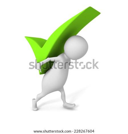 white 3d man carry big green check mark symbol. 3d render illustration - stock photo