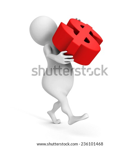 white 3d man carry big red dollar currency symbol. 3d render illustration - stock photo
