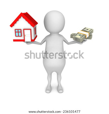 white 3d man choice money or house in balance. real estate concept 3d render illustration