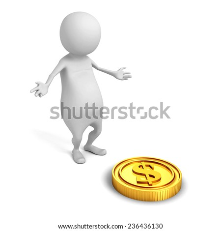 white 3d man find golden dollar coin. financial success concept 3d render illustration - stock photo