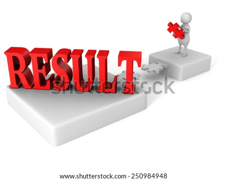 white 3d man jigsaw puzzle bridge to red RESULT word. success concept - stock photo