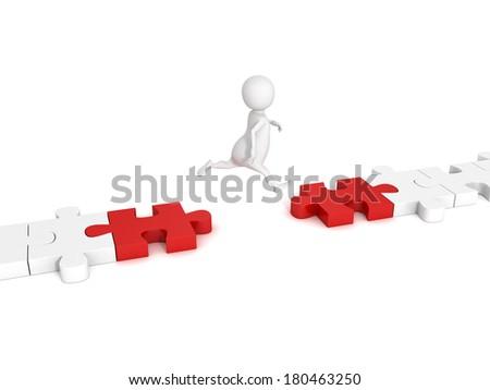 white 3d man jump over puzzle bridge. success problem solution overcoming concept 3d render illustration - stock photo
