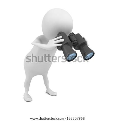 white 3d man looking down through binoculars - stock photo