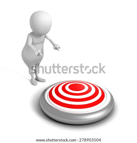 White 3d Man Pointing Hand To Target. Success Winning Concept 3d Render Illustration - stock photo