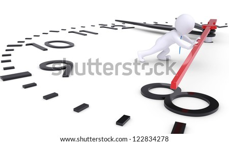 White 3d man pushing second hand watches. Isolated render on a white background - stock photo
