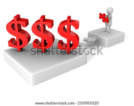 white 3d man puzzle bridge to dollar currency symbols. business success concept - stock photo
