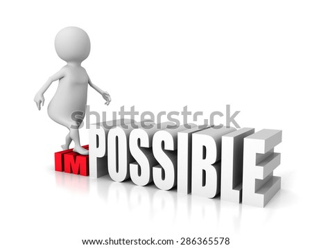White 3d Man Step Up New Possibility. Success Concept 3d Render Illustration - stock photo