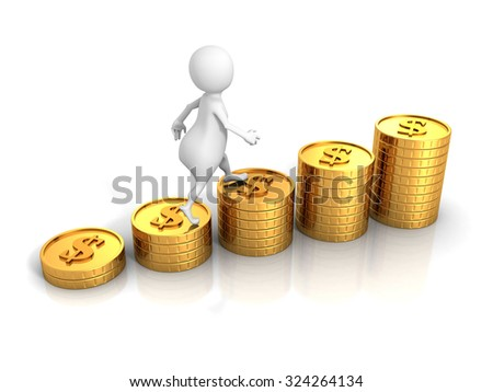 White 3d Man Steps On Success Dollar Coins Bar Chart. 3d Render Illustration - stock photo