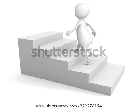 white 3d man steps up on stair ladder. success concept 3d render illustration