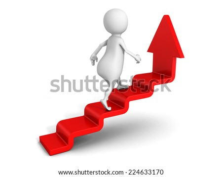 white 3d man steps up on success ladder arrow. 3d render illustration - stock photo