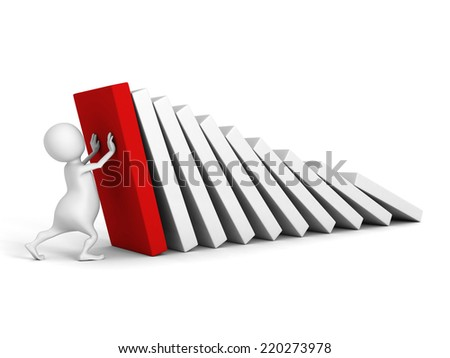 white 3d man stop domino effect with red first. 3d render illustration - stock photo