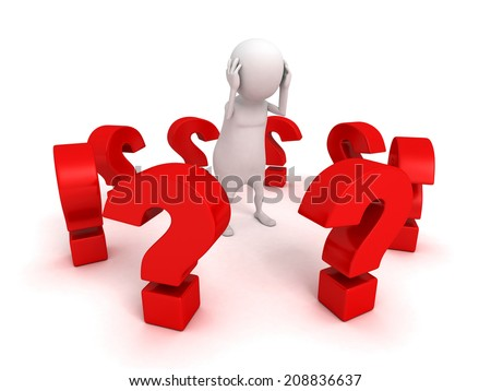 white 3d man surrounded red problem question marks. 3d render illustration