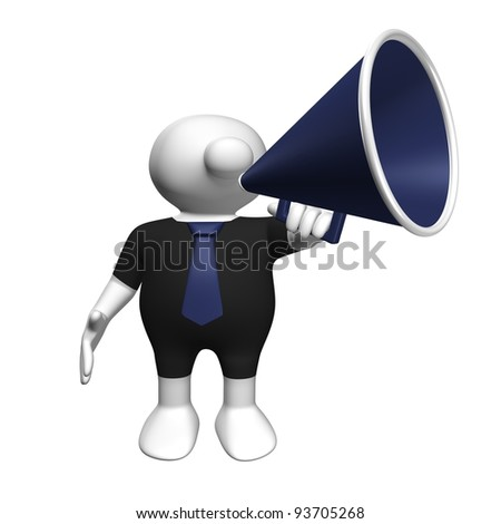 White 3D man wearing a black suit and a blue tie with a megaphone