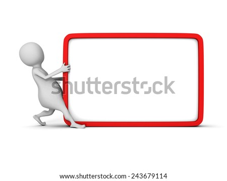 white 3d man with blank information board. 3d render illustration - stock photo