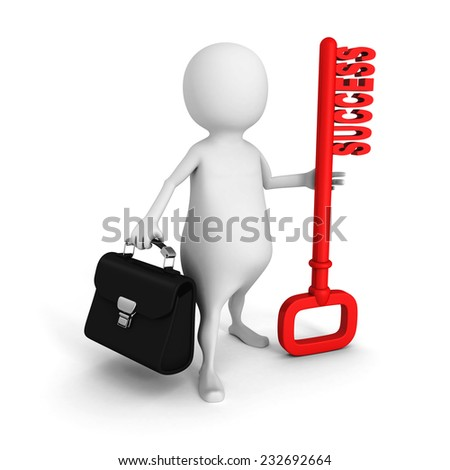 white 3d man with briefcase and red success key. 3d render illustration