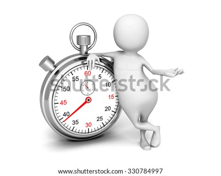 White 3d Man With Classic Silver Stopwatch. 3d Render Illustration