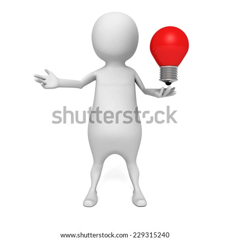 white 3d man with concept idea lightbulb. 3d render illustration - stock photo