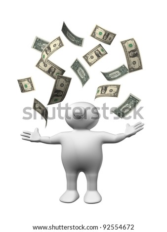 White 3D man with dollar bills flying around