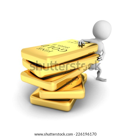 white 3d man with gold bullions stack. 3d render illustration - stock photo