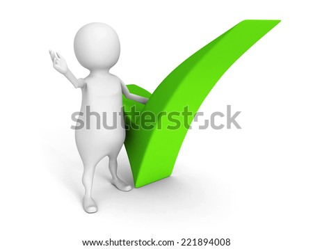 white 3d man with green check mark on white background. 3d render illustration - stock photo