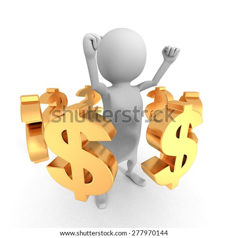 White 3d Man With Many Dollar Currency Symbols. Business Success Concept 3d Render Illustration
