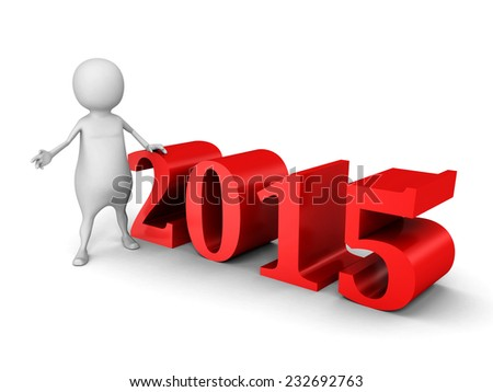 white 3d man with new year 2015 numbers. 3d render illustration