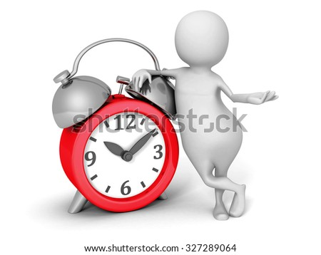 White 3d Man With Red Alarm Clock. 3d Render Illustration