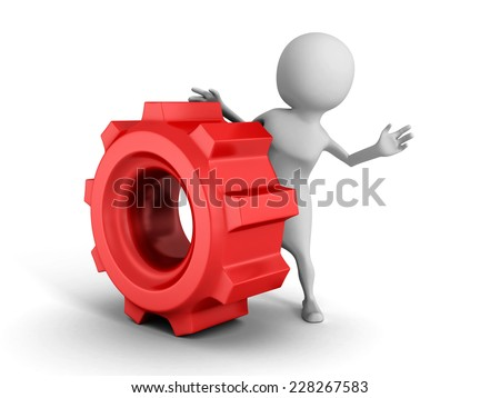 white 3d man with red cogwheel mechanical gear. 3d render illustration