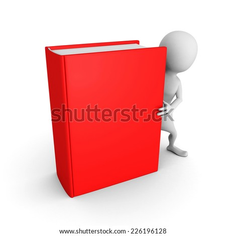 white 3d man with red cover book. 3d render illustration - stock photo