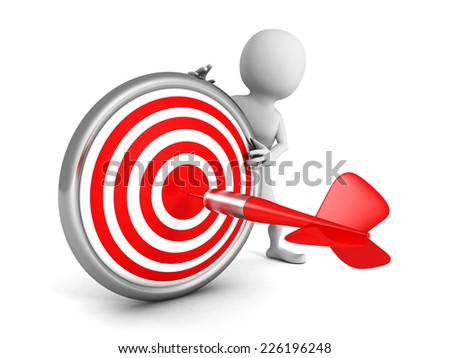 white 3d man with red dart target and arrow. 3d render illustration - stock photo